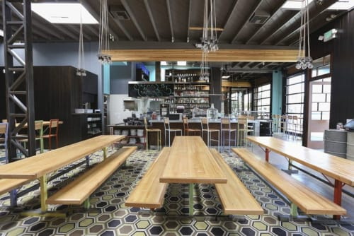 Tables by District Mills at Petty Cash Taqueria, Los Angeles - Communal Tables