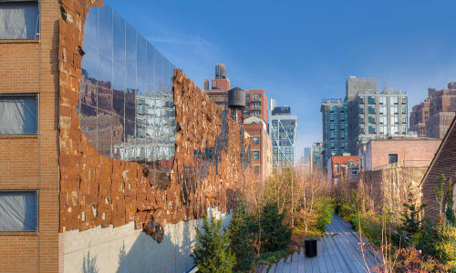 Public Sculptures by El Anatsui seen at The High Line Park, New York - Broken Bridge II, 2012
