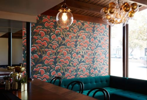 Wallpaper by Makelike seen at Red Herring, Los Angeles - Wallpaper Lush - Red (coral)