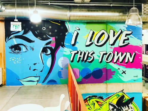 Murals by Mike Johnston seen at Facebook, Austin - I love this Town Mural