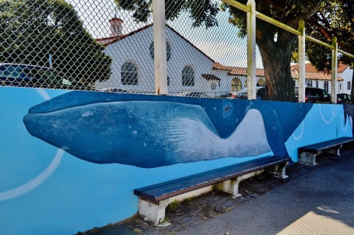 Murals by Talavera-Ballón seen at Commodore Sloat Elementary School, San Francisco - Playground Mural