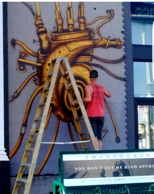 Murals by Hans Haveron at Burgerim, Los Angeles - Golden Heart Mural
