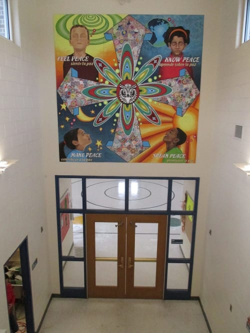 Murals by Mix Masters Murals seen at Willard Elementary School, Evanston, IL, Evanston - Peace Begins with Me