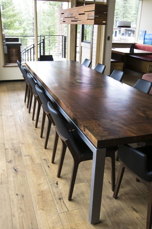 Tables by Mez Works Furniture seen at Private Residence, Truckee - 'Lookout' Walnut Slab Dining Table