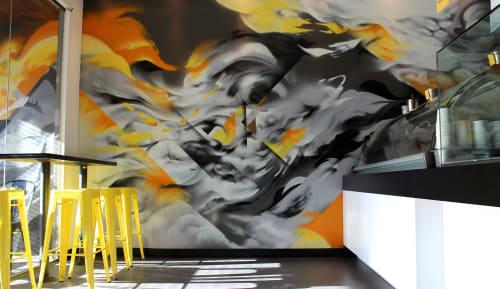 Murals by Hueman, Allison Torneros seen at Churro Borough, Los Angeles - Mottled Black, Gray and Yellow Murals