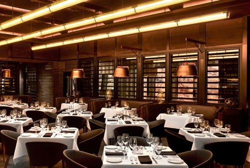 Pendants by ICRAVE seen at Ocean Prime Beverly Hills, Beverly Hills - Custom LED Linear Pendant Light Fixture