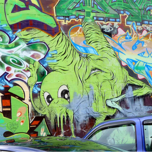 Street Murals by Alex Pardee seen at Stanyan Street, Haight-Ashbury, San Francisco - Unidentified Creature Mural