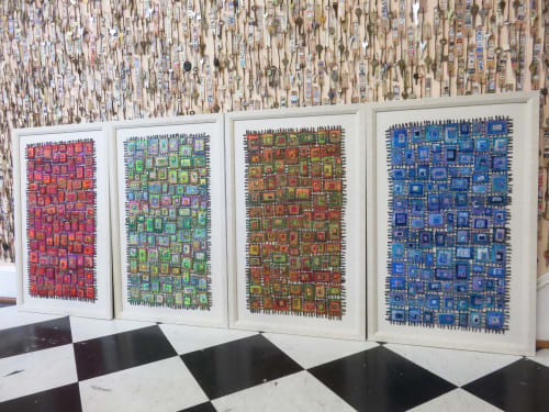 Wall Hangings by Susan Lenz at 2123 Park St, Columbia - In Box and Stained Glass fiber series