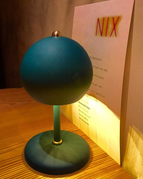Lighting by Elizabeth Roberts Architecture & Design seen at Nix, New York - Bespoke Green Ball Lamps
