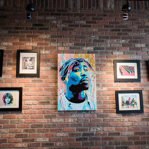 Paintings by Christopher Joseph Gonzalez seen at MAX's Wine Dive Houston - Washington Ave, Houston - 2pac