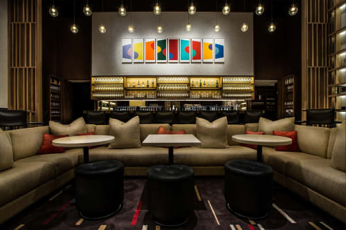 Wall Hangings by Terry Frost seen at Aldo Sohm Wine Bar, New York - Curve Woodcuts