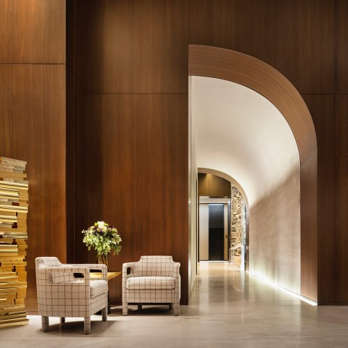 Chairs by Yabu Pushelberg seen at Four Seasons Hotel New York Downtown, New York - Jinbao Street Armchair