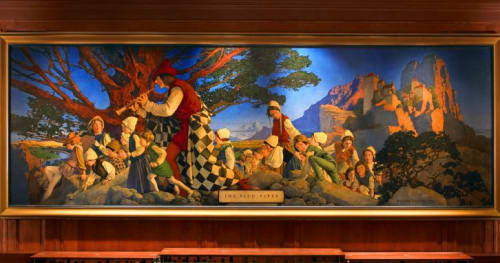 Paintings by Maxfield Parrish seen at Pied Piper Bar & Grill, San Francisco - The Pied Piper of Hamelin