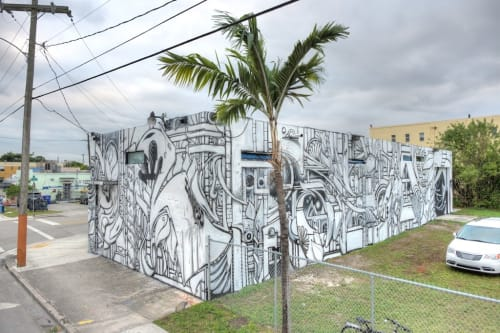 Street Murals by Ian Ross seen at 2032 NW 2nd Ave, Miami - Love Your Fear, Fear Your Love