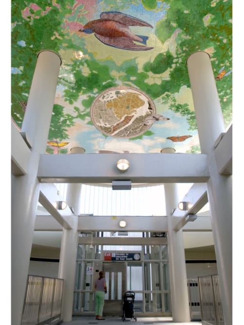 Murals by Cadence Giersbach seen at Myrtle - Wyckoff Avenues Subway Station, Brooklyn - From Earth to Sky