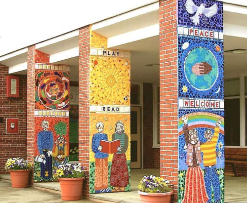 Public Mosaics by Joshua Winer seen at Claypit Hill School, Wayland - Claypit Hill School Entry Columns Mosaic