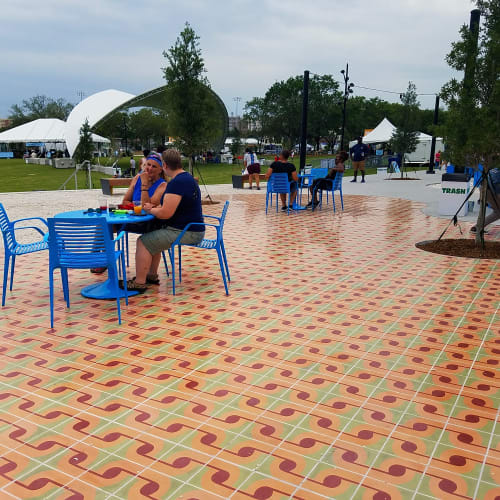 Tiles by Jovi Schnell seen at Julian B Lane Riverfront Park, Tampa - West Tampa Promenad