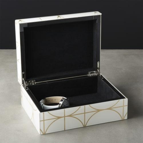 Tableware by Namavari at CB2, Berkeley - Circuit White and Gold Glass Jewelry Box
