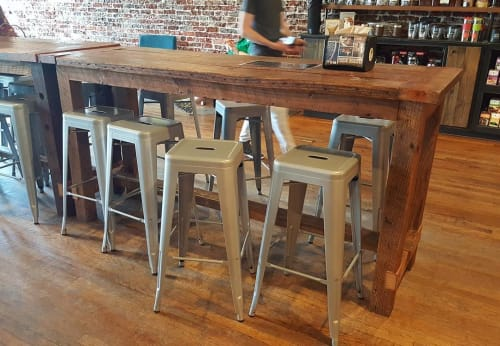 Tables by The Knotty Log seen at Grassroots Coffee, Thomasville - Rustic Pub Table