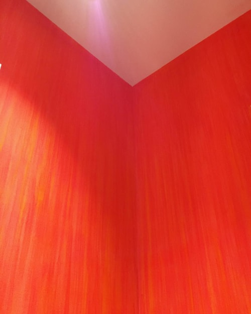 Murals by Robert Sangster seen at Private Residence, Toronto - Orange Chalk Mural