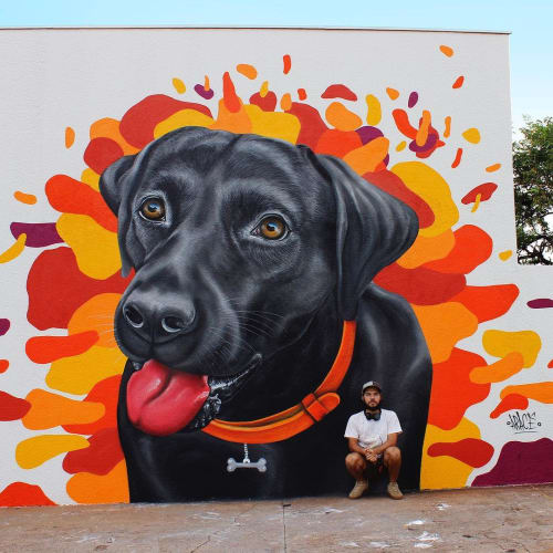 Murals by Aracê seen at New Pet - Araraquara - Casa de Ração - Banho e Tosa - Clinica Veterinaria - Farmacia, Jardim Botanico - Dog Mural