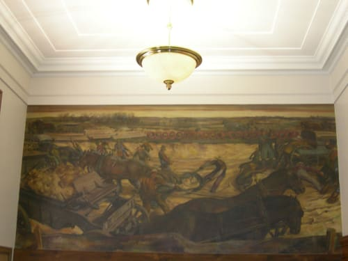 Murals by S. Douglass Crockwell seen at United States Postal Service - Endicott, Endicott - Excavating for the Ideal Factory