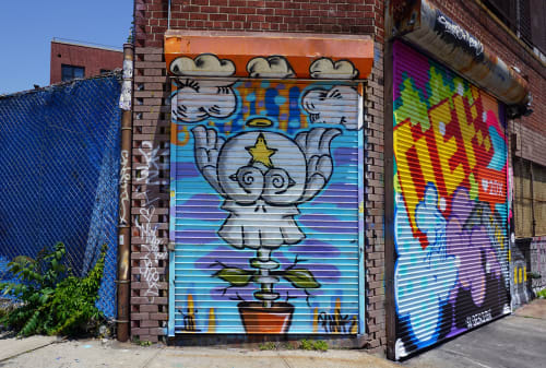 Murals by Jos-L seen at Welling Court Mural Project, Queens - Gate Mural 1
