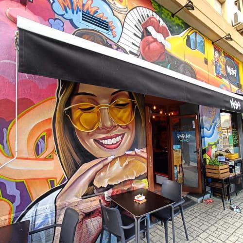 Murals by Lalone seen at N87 Street food, Málaga - Mural