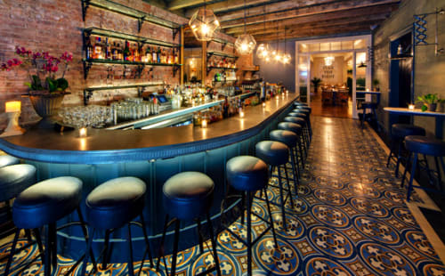Tiles by Avente Tile seen at Bo's Kitchen and Bar Room, New York - Traditional Bruselas Cement Tile