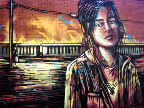 Street Murals by Alice Pasquini seen at Zynderia Studios, Los Angeles - Last Passenger