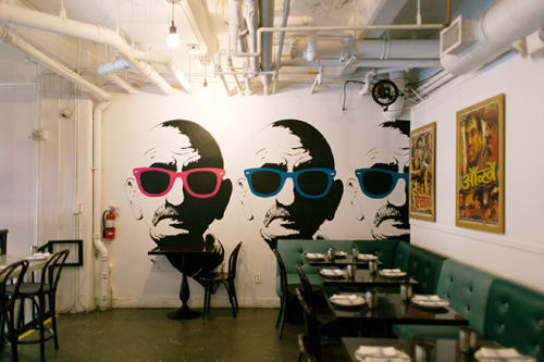Murals by Alex Cherry seen at Badmaash, Los Angeles - Mural - Pop-Art Gandhi Mural