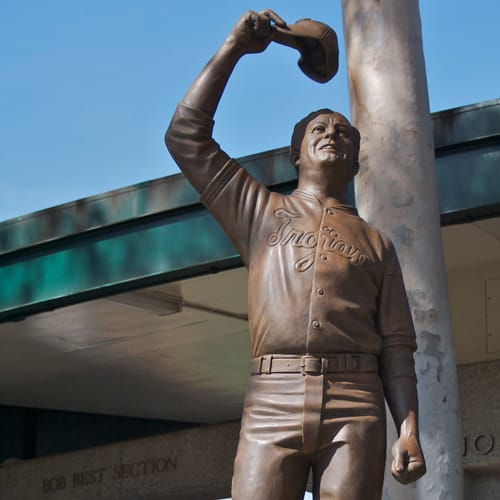 Sculptures by Lawrence Noble seen at De Deaux Field, University of Southern California, Los Angeles - Rob Redux Statue