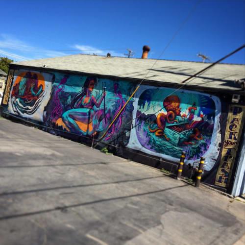 Murals by Dylan Kelly ( Dkelly //Chaos938 ) seen at Brady's Yacht Club, Santa Cruz - Sea Creatures