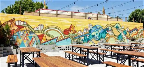 Murals by David Polka seen at Temescal Brewing, Oakland - Outdoor Beer Garden