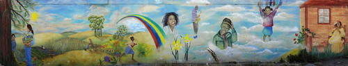 Street Murals by Peter Collins seen at Ogden Avenue, Bernal Heights, San Francisco, CA, San Francisco - The Joy of Life