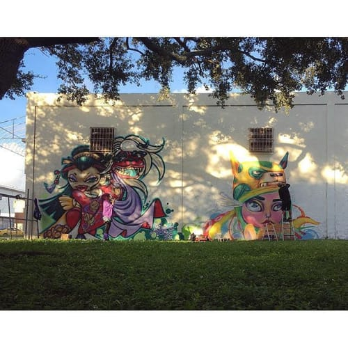 Murals by Yuhmi Collective seen at Private Residence, Miami - 'Through the rainbow'
