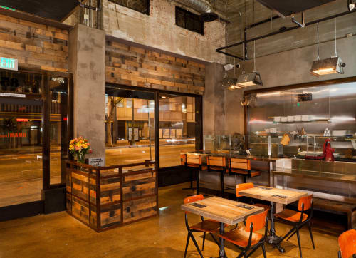 Wall Treatments by District Mills at Umami Burger, Los Angeles - Wood Cladding For Bar And Entrance Wall Facades
