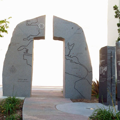Public Sculptures by Sheila Ghidini seen at 5616 Bay Street, Emeryville - Ohlone Memorialization Project