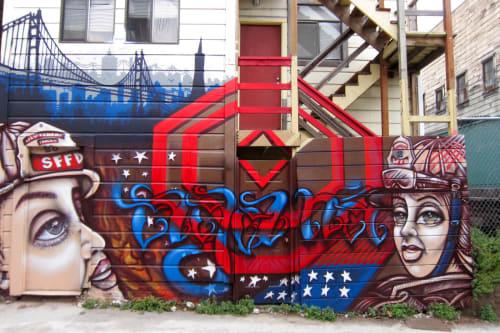 Street Murals by DJ Agana (Vanessa Espinoza) seen at Taber Pl, SoMa, San Francisco - The Dream Kontinues