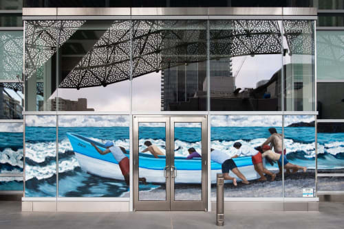 "Murals by Talavera-Ballón seen at Salesforce Transit Center, San Francisco - ""Desafiando la Marea"""