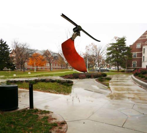 Sculptures by John Van Alstine seen at Michigan State University, East Lansing - FUNAMBULIST - wire walker