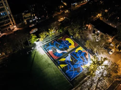 Street Murals by Brian Donnelly (KAWS) seen at Sara D. Roosevelt Park, New York - Basketball Court Floor Mural
