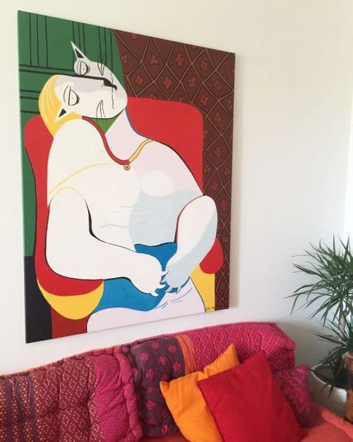 Paintings by Sol Felpeto seen at Private Residence - Málaga, Spain, Marbella - El gato con sueño