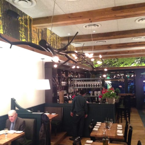 Chandeliers by CP Lighting seen at Wildwood Kitchen by Robert Wiedmaier, Bethesda - newGROWTH Chandelier