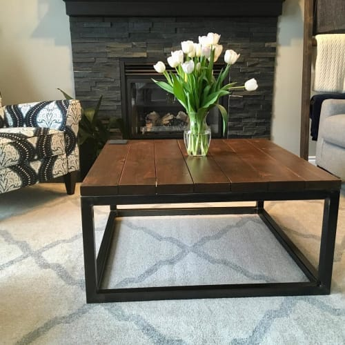 Tables by Cask Woodworking seen at Private Residence - Metal and Wood Coffee Table