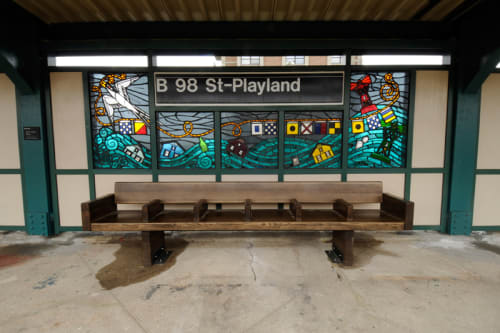 Public Mosaics by Duke Riley seen at Beach 98 St - Playland Station, Queens - Be Good or Be Gone