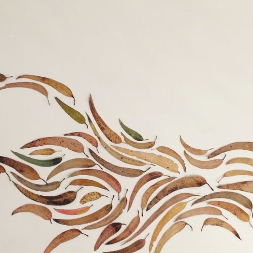 Murals by We Are Clay Studio seen at Windy Chien Studio, San Francisco - Eucalyptus Leaf Mural