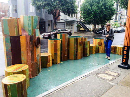 "Sculptures by Reuben Rude seen at Luna Rienne Gallery, San Francisco - Public Parklet ""You Are Here"""