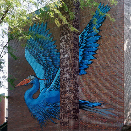 Street Murals by Jesse Hazelip seen at N Kerby Ave & N Jessup St, Portland - Fly High