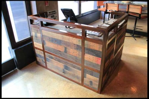 Furniture by District Mills at Umami Burger, Los Angeles - Copper and Reclaimed Wood Host Stand
